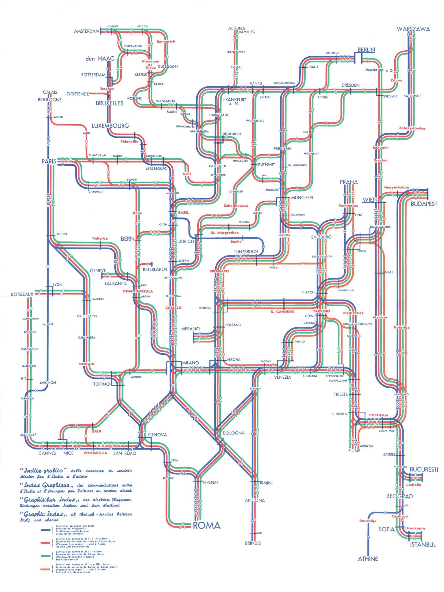 Along straight lines schematic railway maps retours