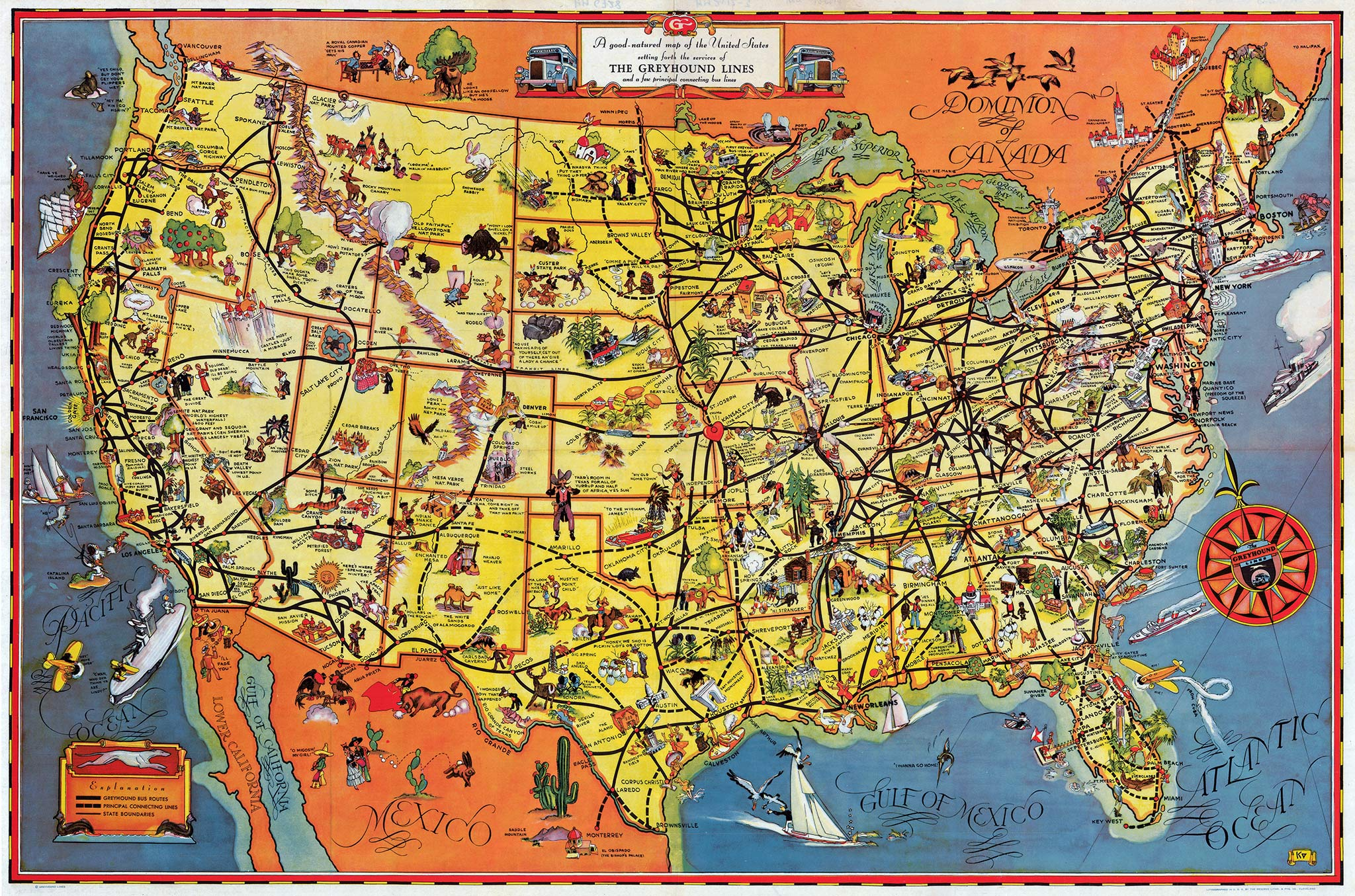greyhound map of the united states 1933 anonymous princeton university library